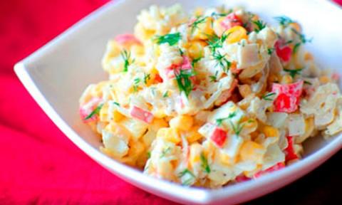 Крабовый салат рисом фото рецепт
